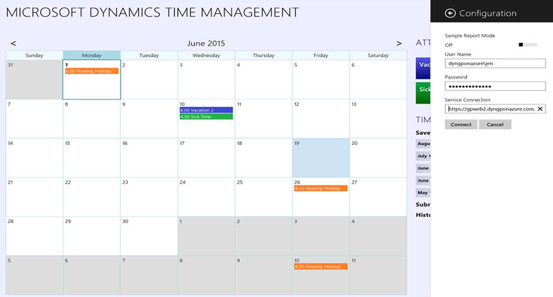 Microsoft Dynamics Time Management app