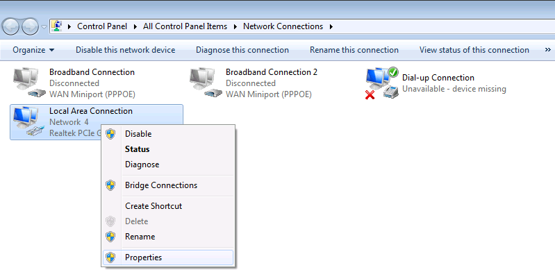 Properties Window in Network Connection Settings