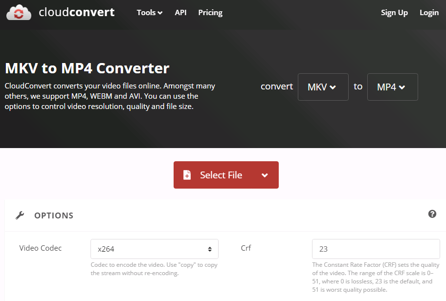 cloud convert - MKV to MP4